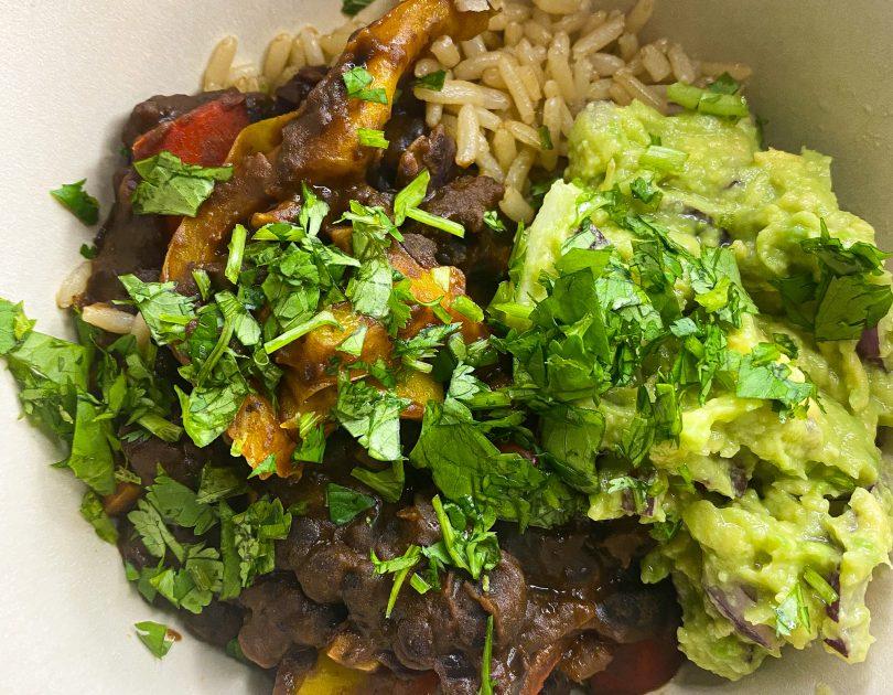 black bean and chipotle bean bowl